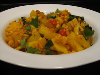 A delicious bowl of Aloo Gobi - Indian style cauliflower and potatoes