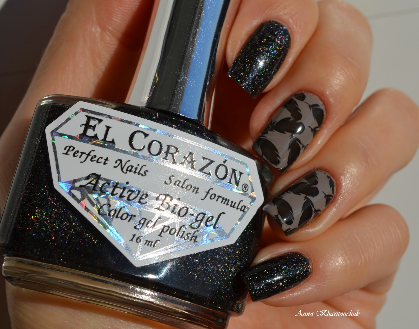 Winter11DNC. Голографик. Дуэт EL Corazon Active Bio-Gel  Large Hologram # 423/508 Cosmos и Opi French Quarter For Your Thoughts стемпинг с BP-18