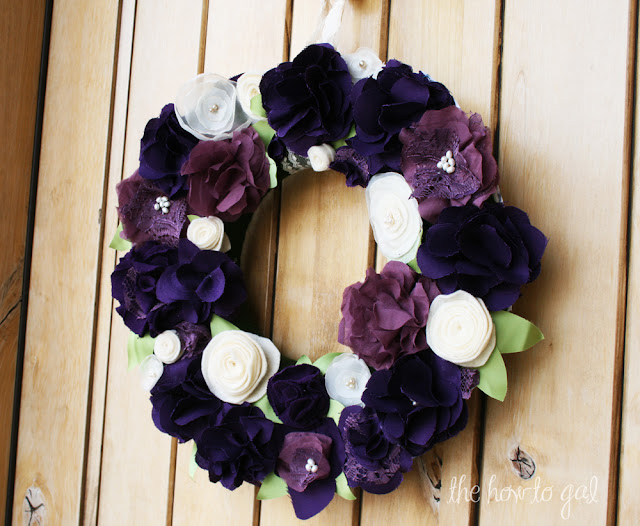 Handmade Mixed Fabric & Felt Flower Wreath Tutorial :: The How-To Gal