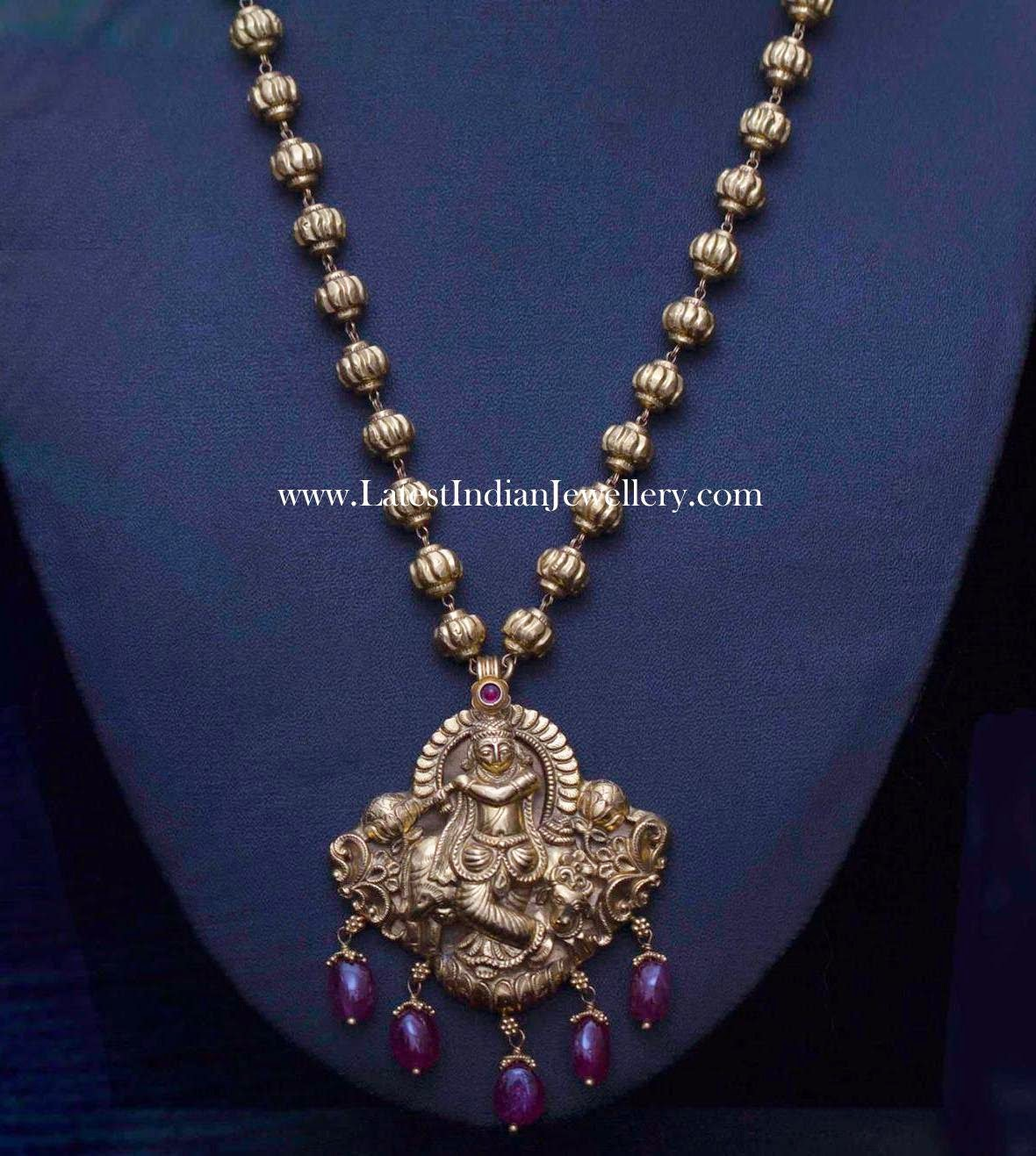 Krishna Pendant Gold Balls Haram