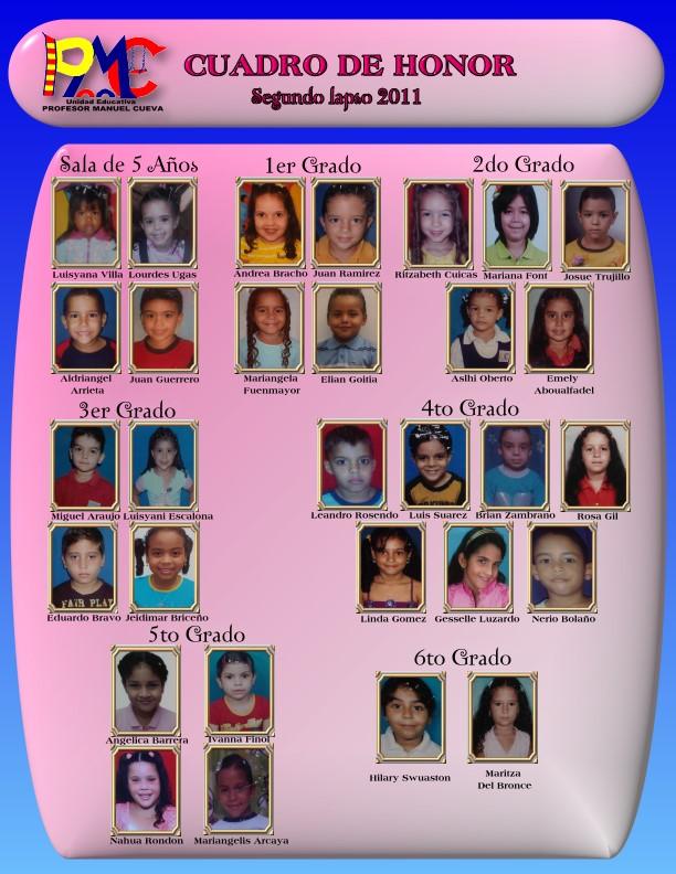 Cuadro de Honor Segundo Lapso Año Escolar 2010 - 2011