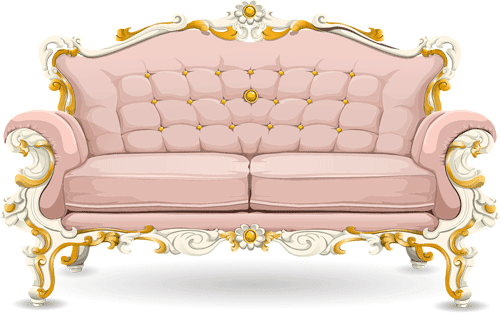 sofa antiguo de color rosa