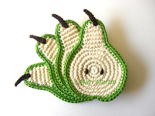 Crochet Coasters Slice Pear