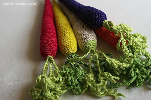Rainbow carrot of many colors, handmade crochet carrot