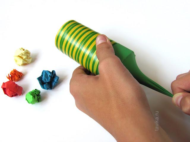 Детская поделка для стрельбы бумажными шариками