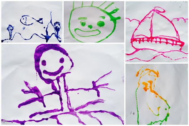 Desenhos com cola e areia que meu filho fez