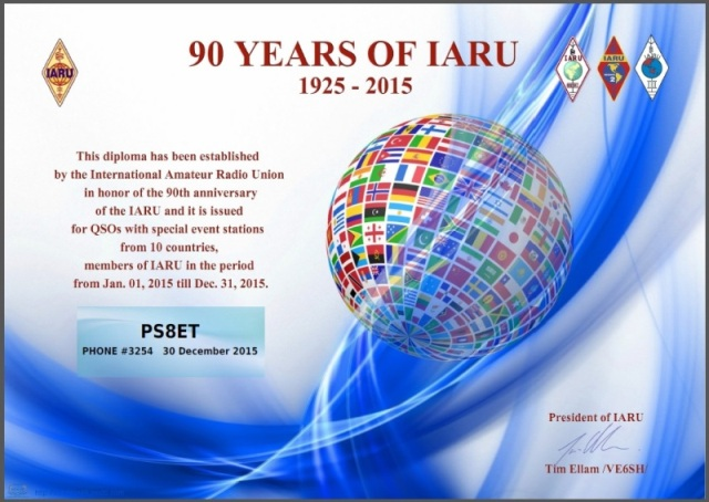 90 YEARS OF IARU - Phone # 3.254