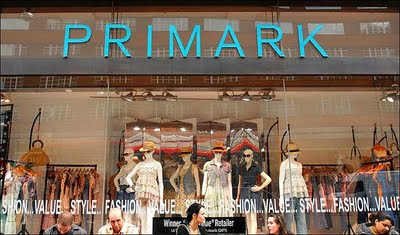Picture of a Primark shop window and name above the window