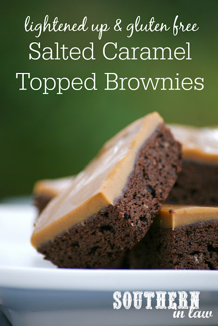 Skinny Salted Caramel Topped Brownie Recipe - healthy, lightened up, healthier, gluten free, salted caramel frosting, low fat, lower sugar, low calorie, healthier birthday cake recipes