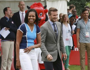 Michelle Obama Attends Olympic Event With David Beckham