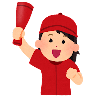 野球を応援する女性のイラスト(赤)