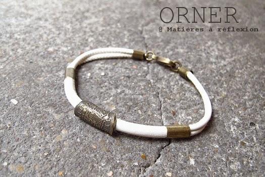 Bijoux unisex bracelet Orner cuir écru