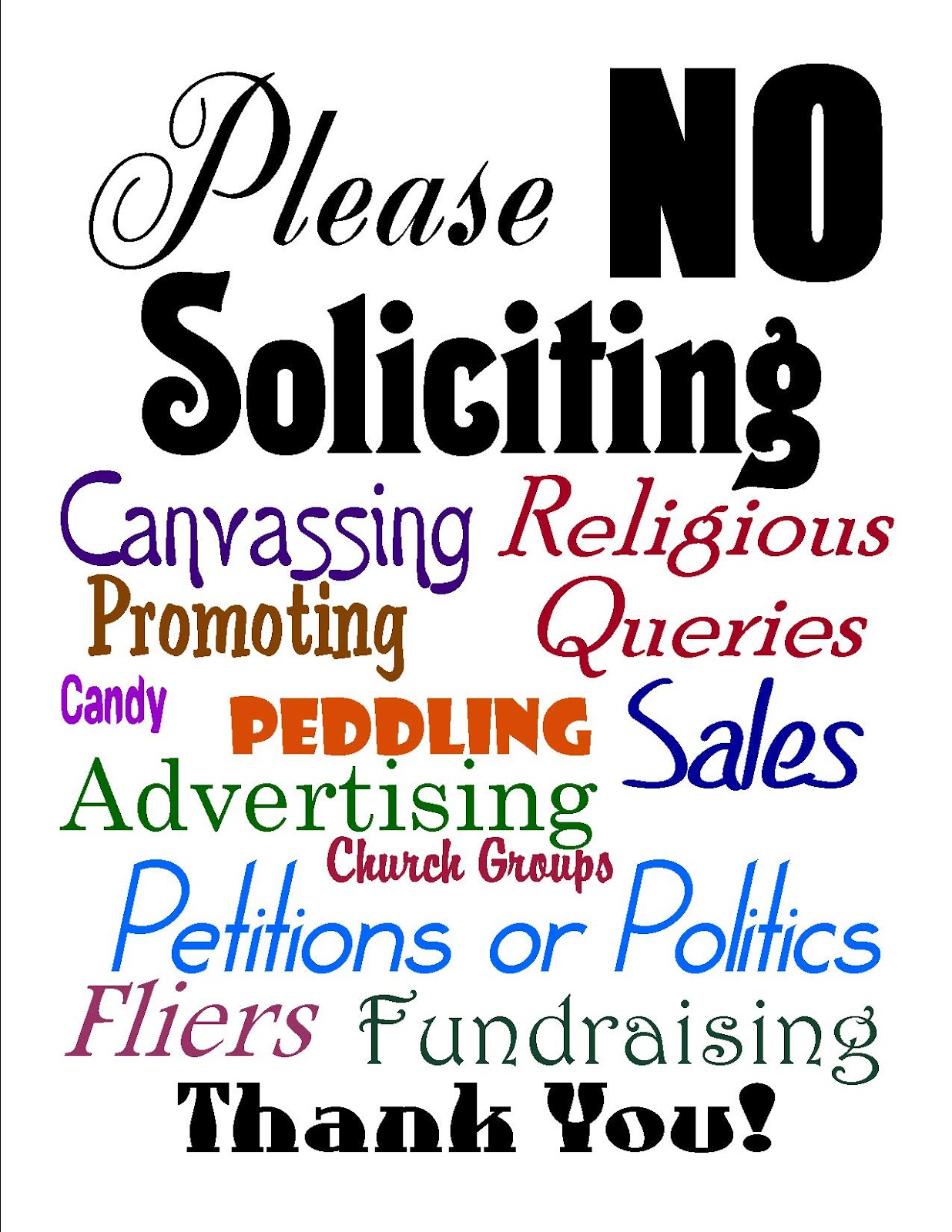 Sweet image with printable no soliciting sign