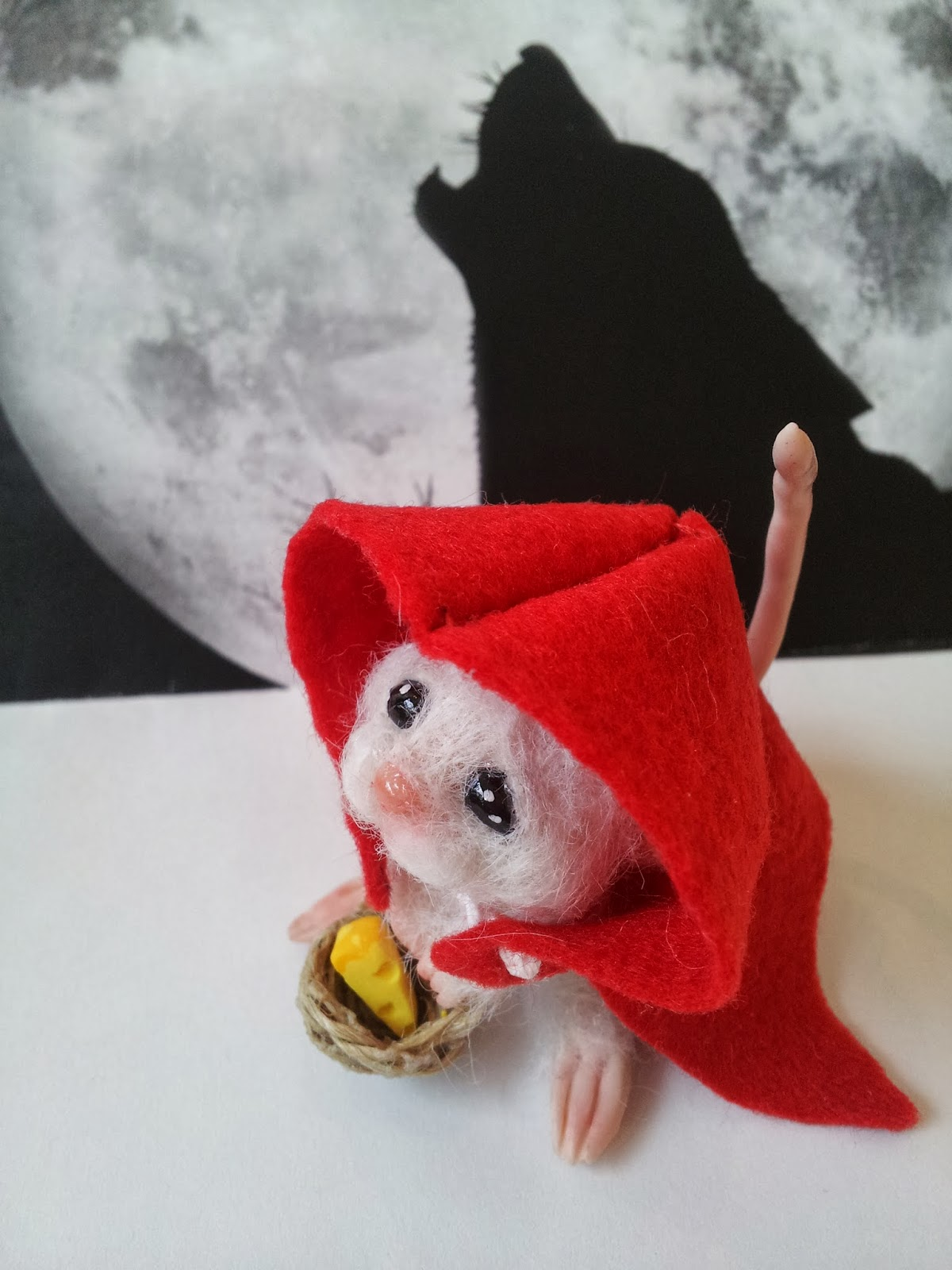 "ooak mouse topo ""cappuccetto rosso"" ""Little Red Riding Hood"" miniature handmade topolino"