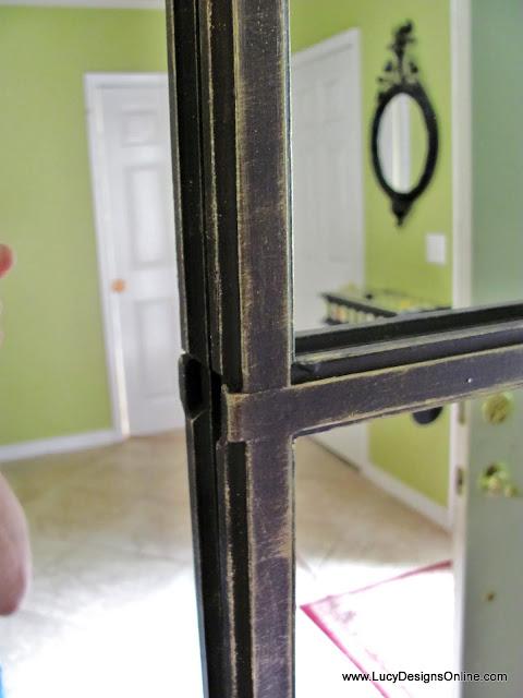 metal look gold glaze on muntins in mirror