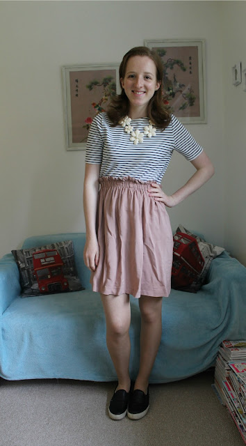OOTD: Stripey Top, Pink Skirt and a Backpack, ASOS, New Look, Primark, Topshop, Fashion Blogger, FBlogger
