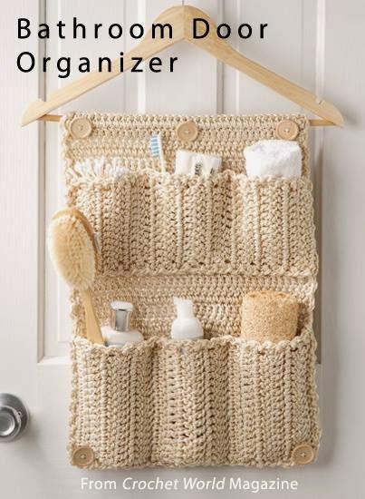 Organizador De Baño En Crochet:Idea: Organizador de baño tejido con una percha!!!
