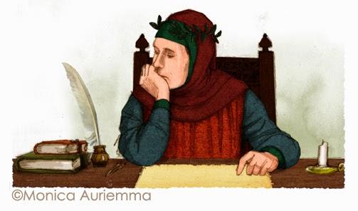 """Illustrazione. Petrarca. Monica Auriemma.""""Leggo perchè..."""" Mondadori Education"""