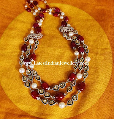 Ruby Polki Diamond Beads Neckpiece