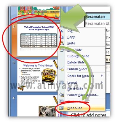 Gambar:  Cara menyembunyikan slide presentasi powerpoint