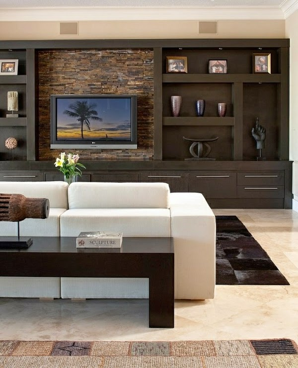 How to use modern tv wall units in living room wall decor for Living room tv unit designs