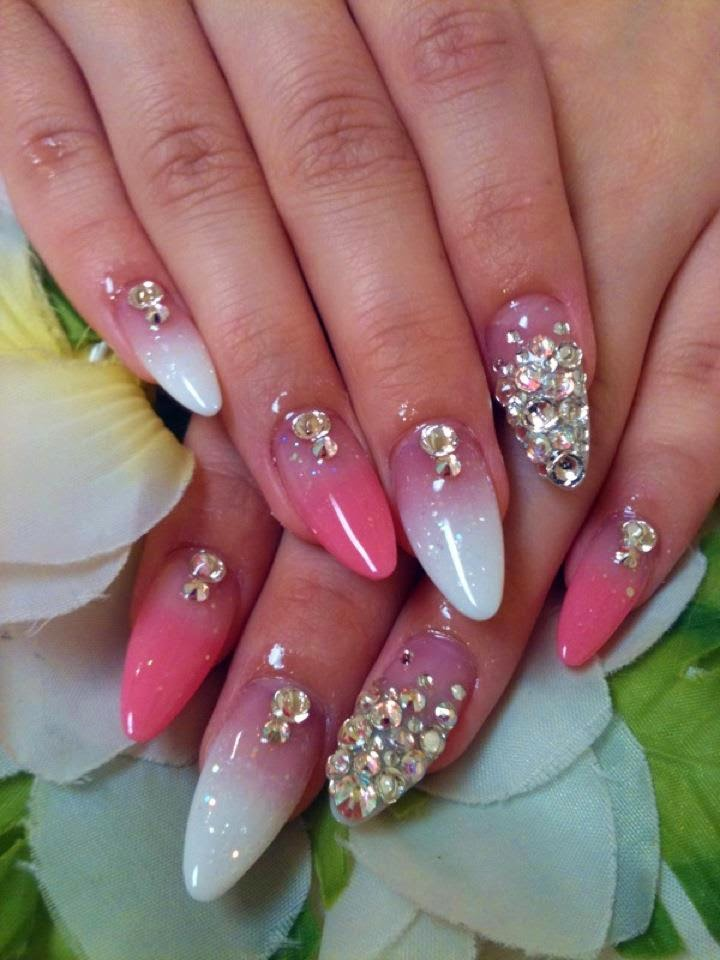 Simple acrylic nail designs with rhinestones nail art for Acrylic nail decoration