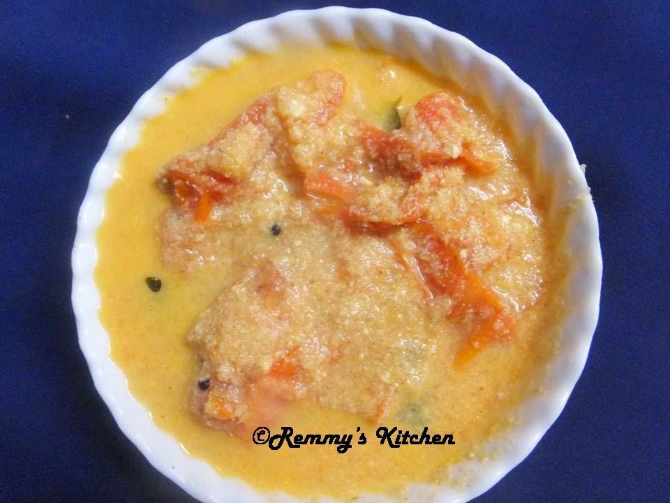 Thakkali pachadi/Tomato in yogurt coconut gravy