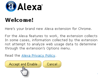 accept alexa toolbar at chrome
