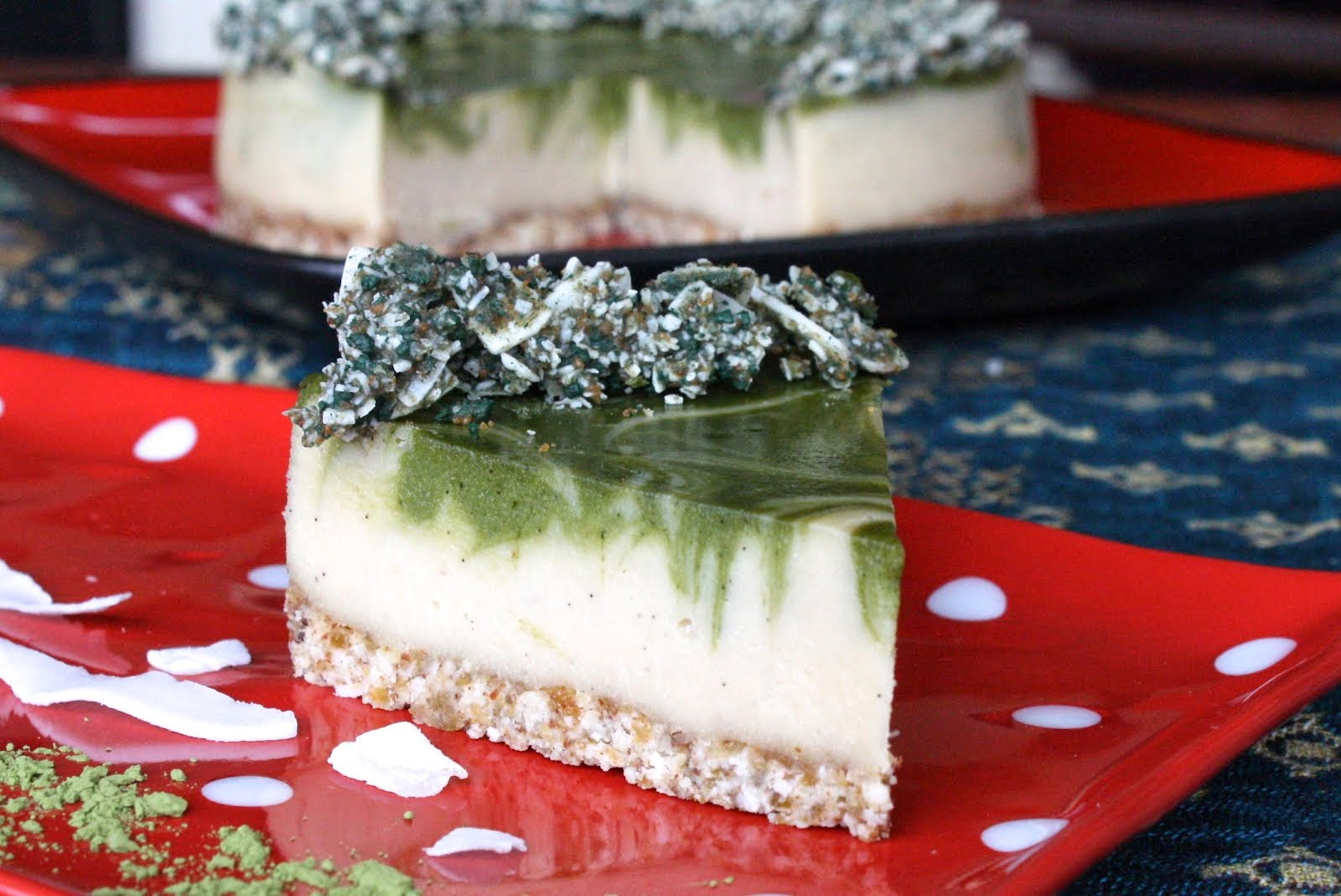 Raw white chocolate vanilla matcha cheesecake