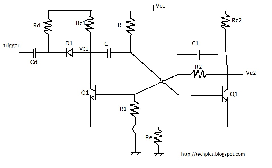 techpicz  monostable multivibrator using bc107