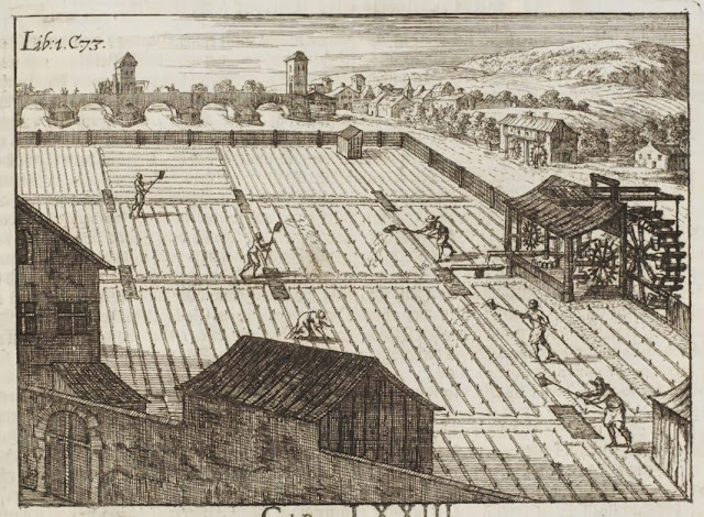 17th century engravings of farm fields being irrigated by waterwheel + by farm workers