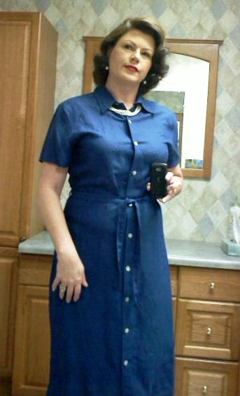 Navy Linen shirtwaist dress