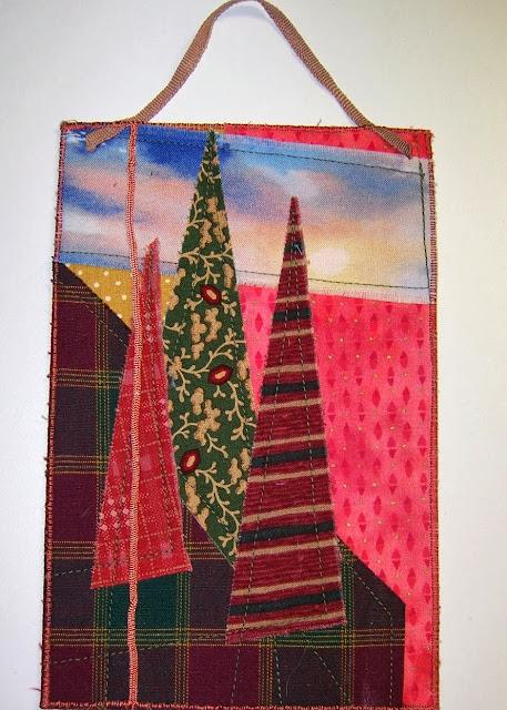 trees on plaid - a marty mason original fabric art card