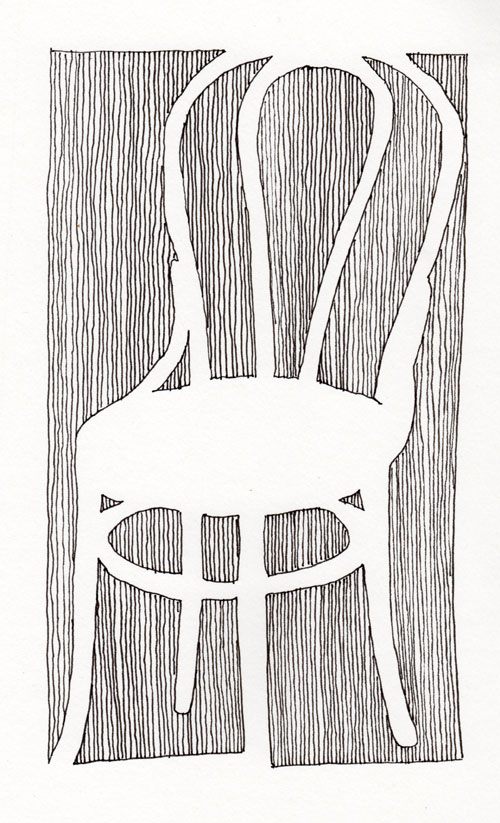 pen pencil paper�draw contour drawing of a chair