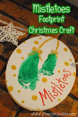 Mistletoes Footprint Christmas Craft 12 Handprint Footprint Fingerprint Christmas Craft Gift Ideas | directorjewels.com