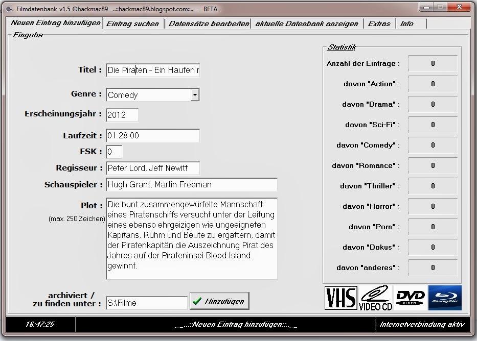 Freeware zum erstellen einer filmdatenbank freeware for Klassisches haushaltsbuch