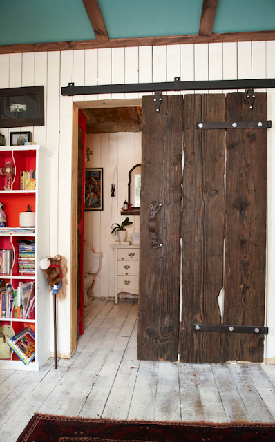 Barn door on a bathroom, by Marion House Book - please click on direct link to pin