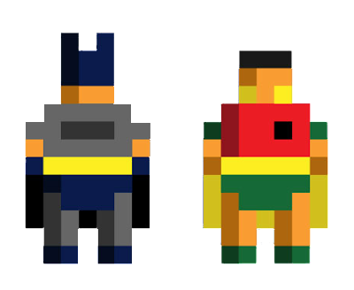 Basic pixel art batman and robin