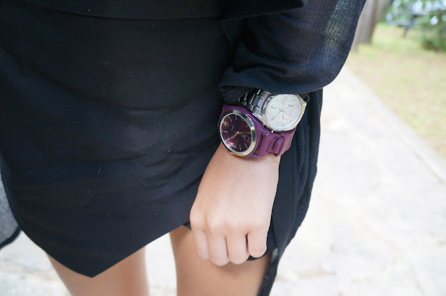 black Zara Basic skort, Helmut Lang cardigan, Silver Citizens watch, purple American Eagle Watch
