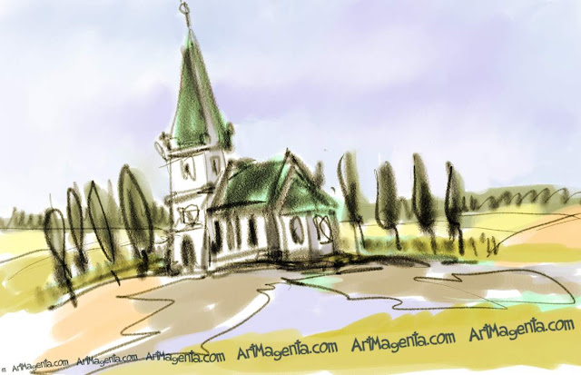 Church in open landscape is a sketch by artist and illustrator Artmagenta