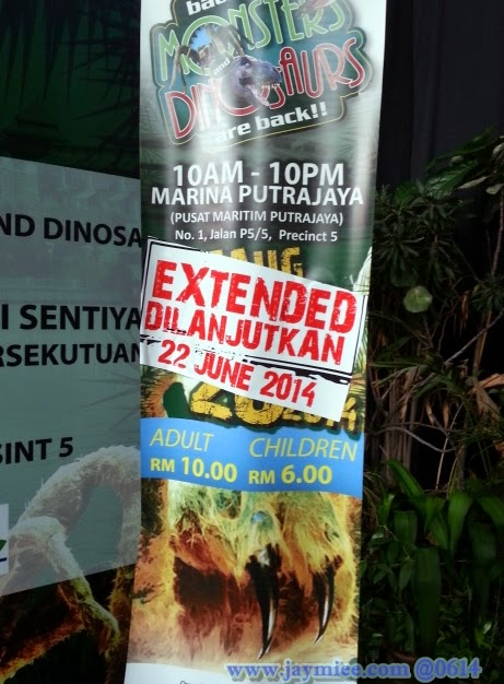 Pameran Monster and Dinosaurs di Marina Putrajaya.