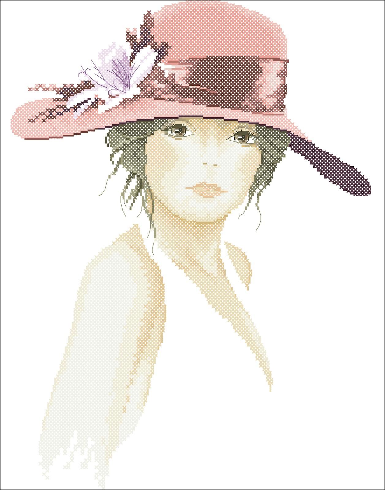 Девушка в шляпе с цветами схема