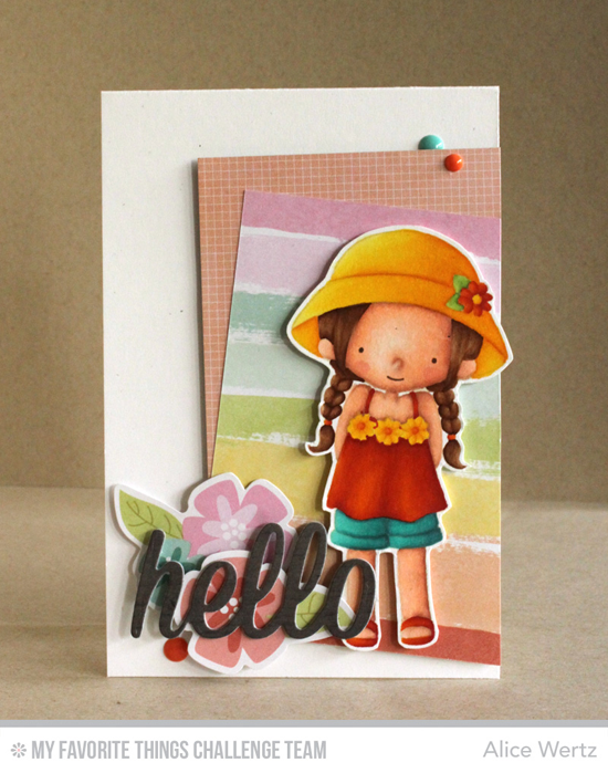 Summery Hello Card by Alice Wertz featuring the Birdie Brown Every Day Is a Picnic stamp set and Happy Hellos Die-namics #mftstamps