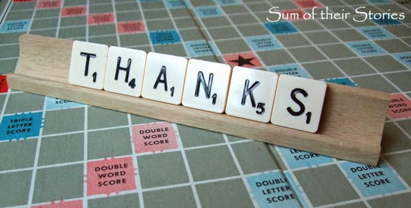 scrabble thanks for My 1 year Blogiversary