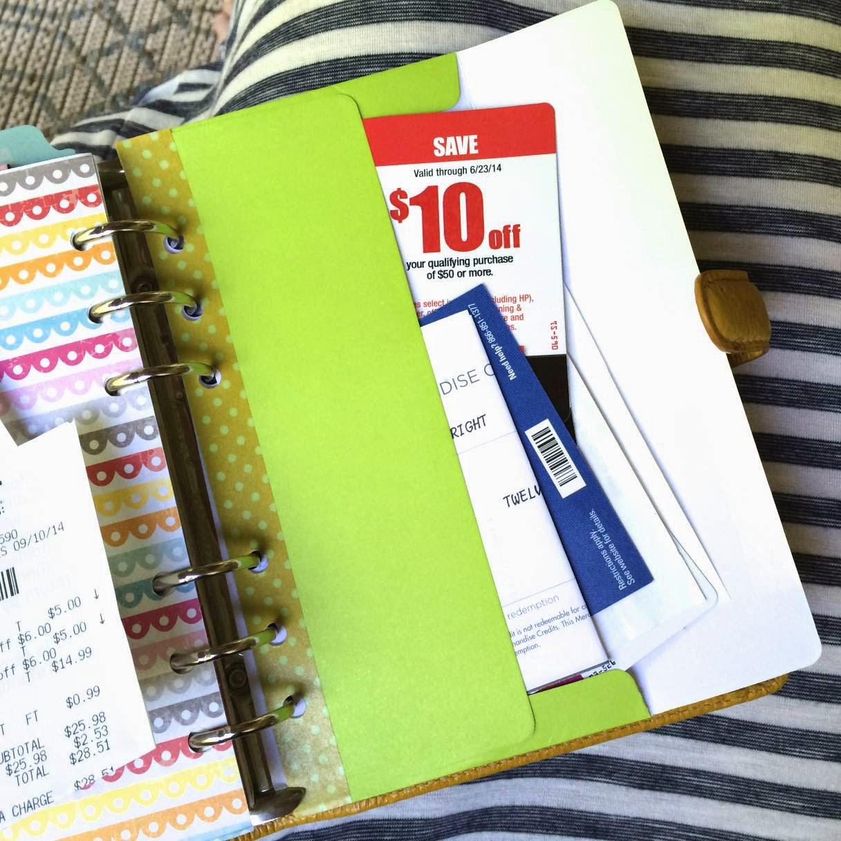 Coupon Organization in your Filofax Planner | iloveitallwithmonikawright.com