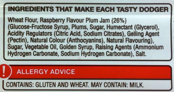 Burtons Jammie Dodgers ingredients