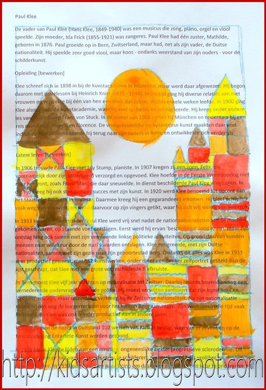 Kids Artists Castle And Sun Like Paul Klee