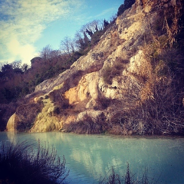 the wild hot water pool below bagno vignoni