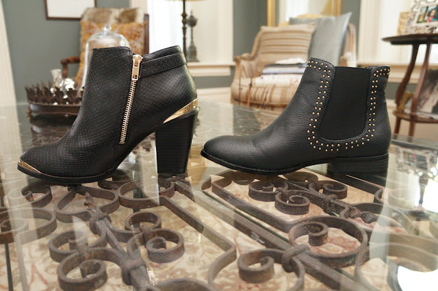 Material Girl gold plated black leather booties, flat moon boots with studs (side view)