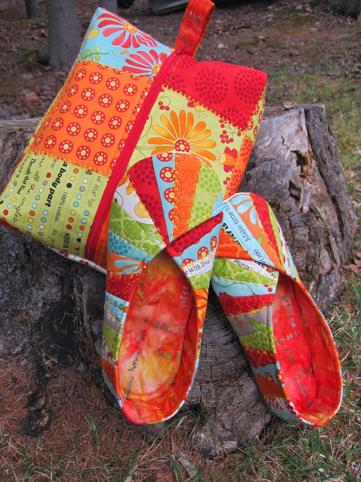 Cool Cats and Quilts: Snappy Slippers & Travel Bag from Cool Cat Creations